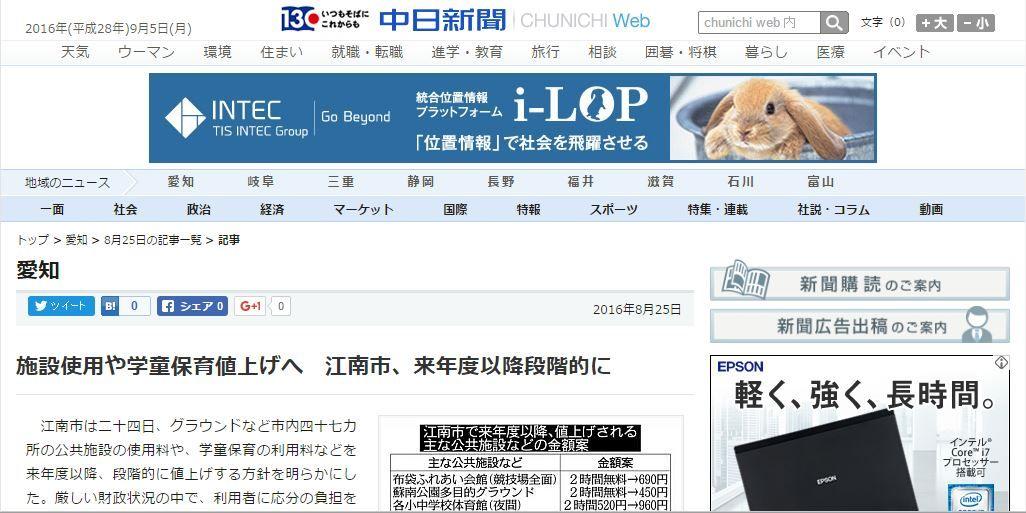 chunichi web
