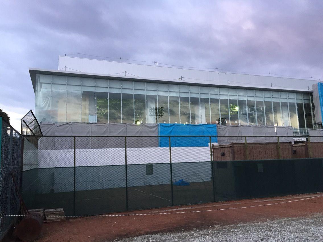建設中の新体育館(江南市スポーツセンター)