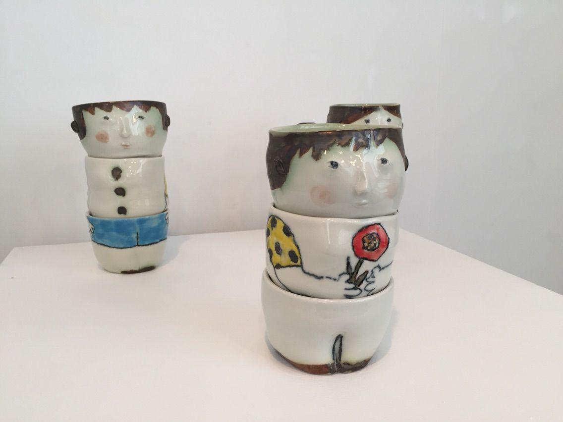 吉川千香子展3段重ねの湯飲み茶碗