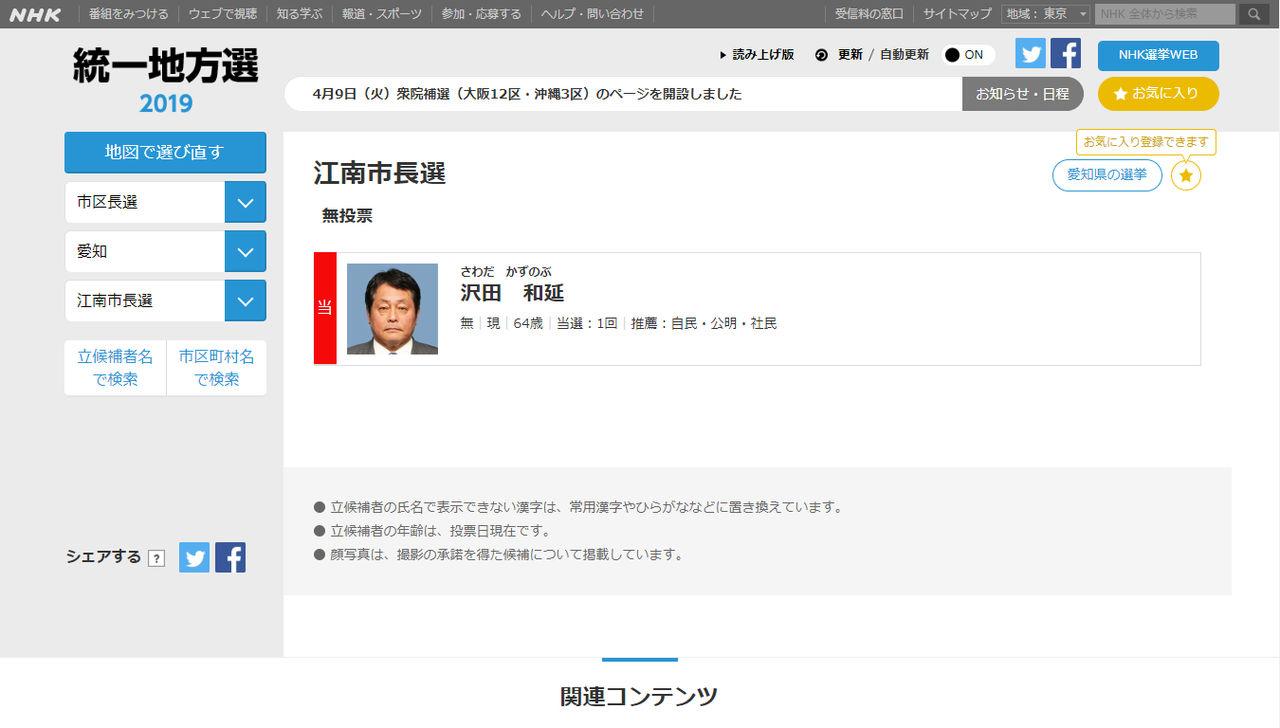 江南市長選挙2019