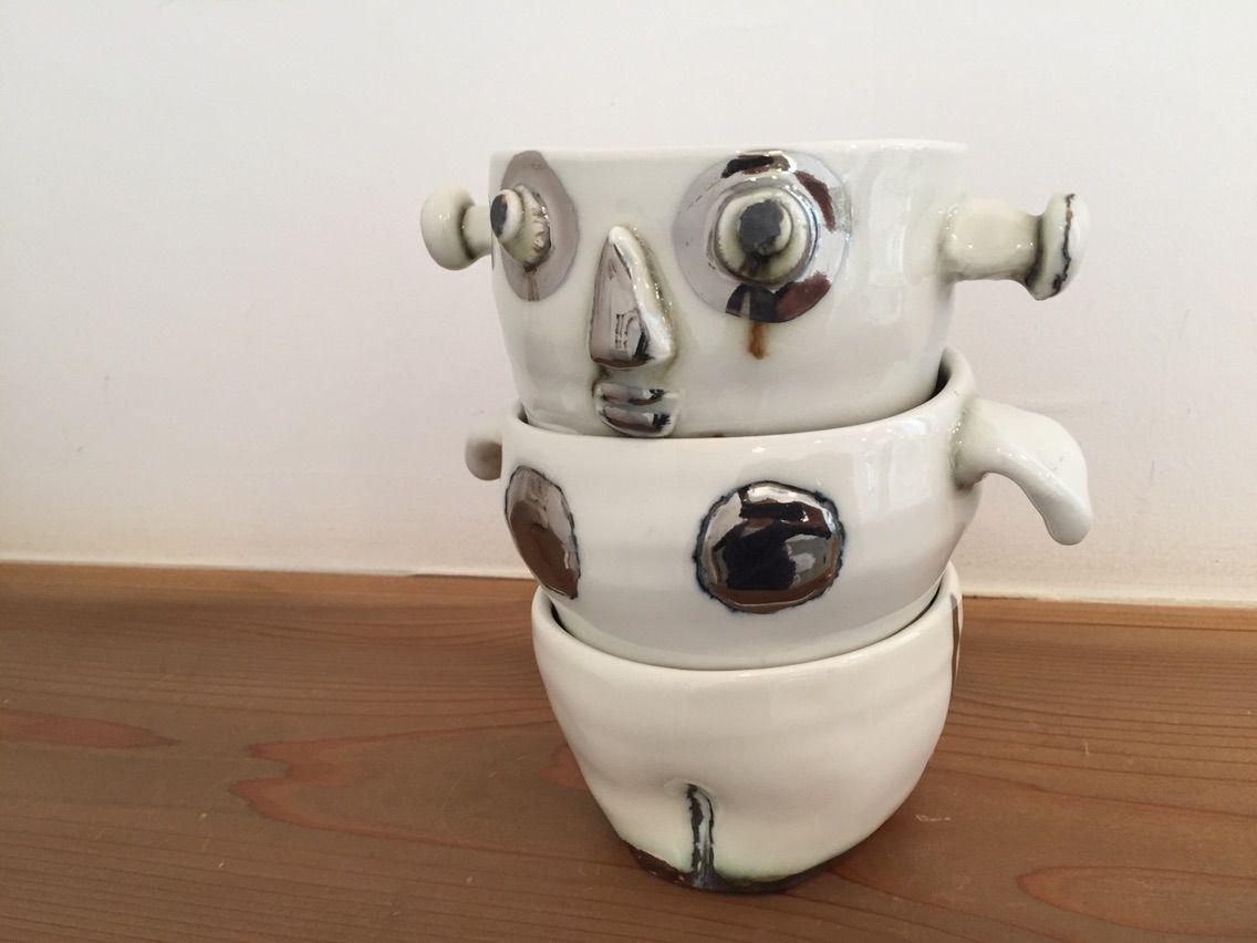 吉川千香子展3段重ねの湯飲み茶碗ロボット